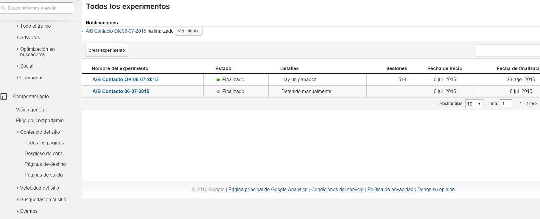 Google analytics. Experimentos